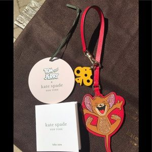 BNWT 🎀 Kate Spade Tom and Jerry Leather Keychain